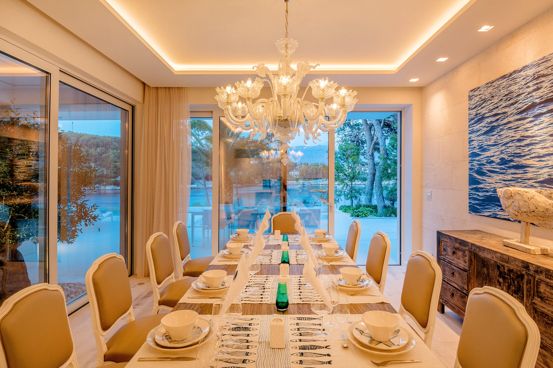 Luxurious dining area with a chandelier