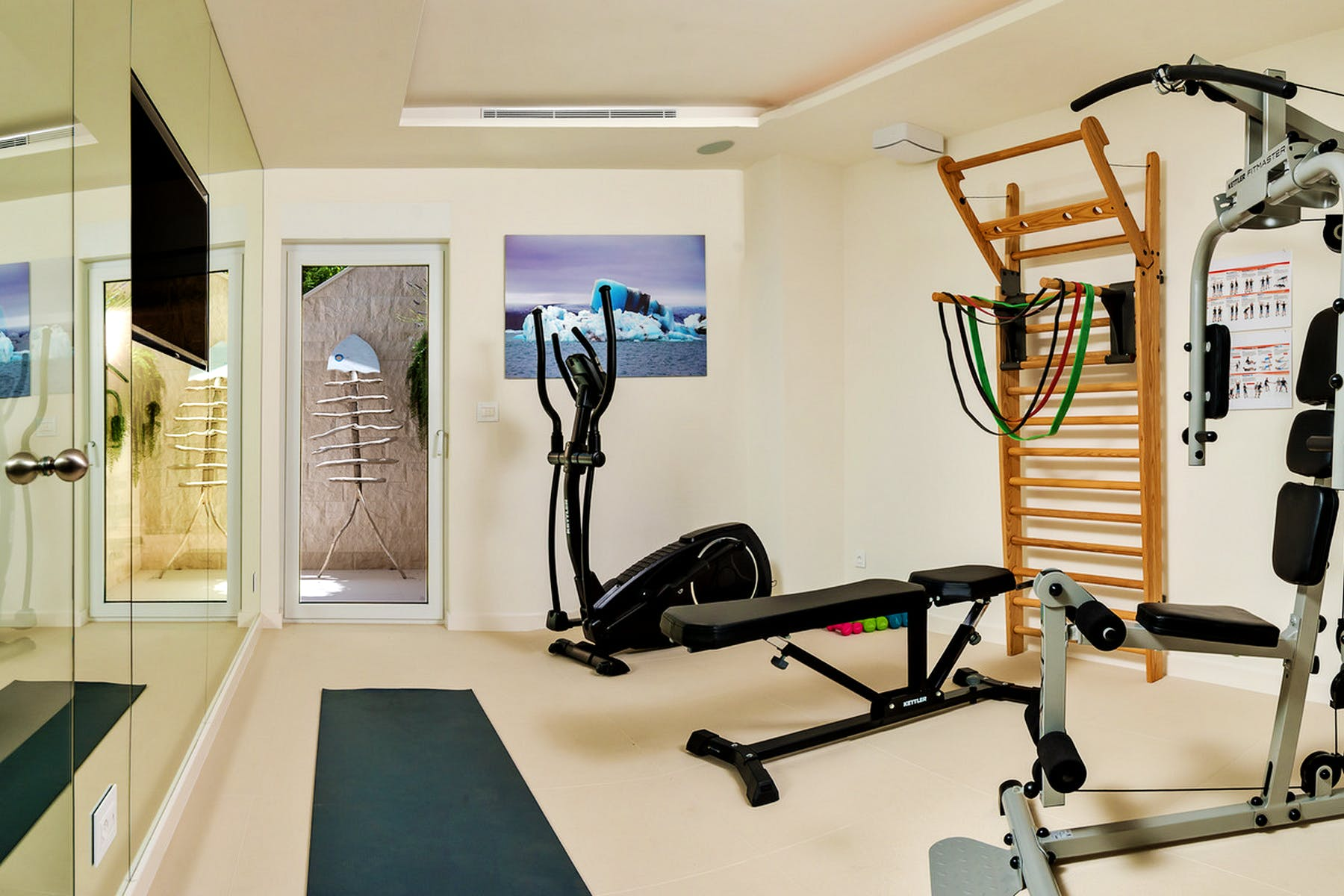 Well-equipped gym area