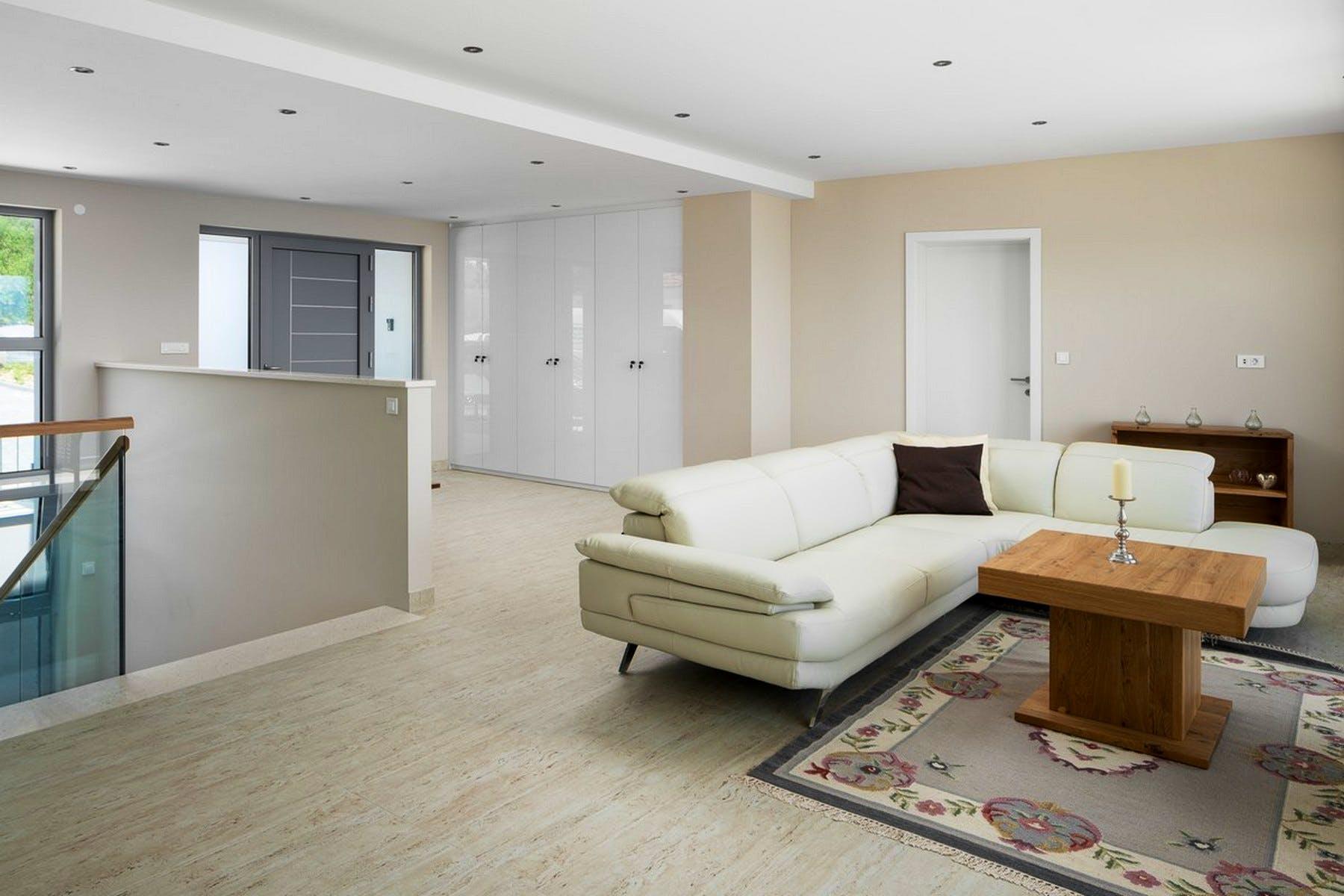 Modernly designed living room space