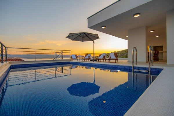 Pool area in the sunset