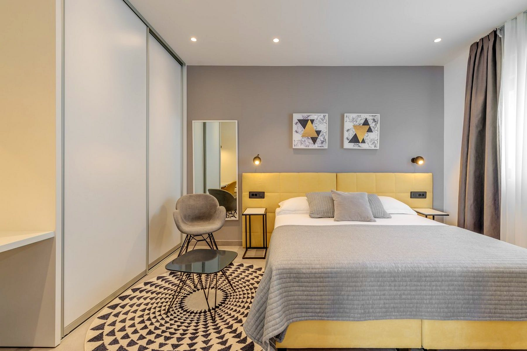 Modernly designed double bedroom