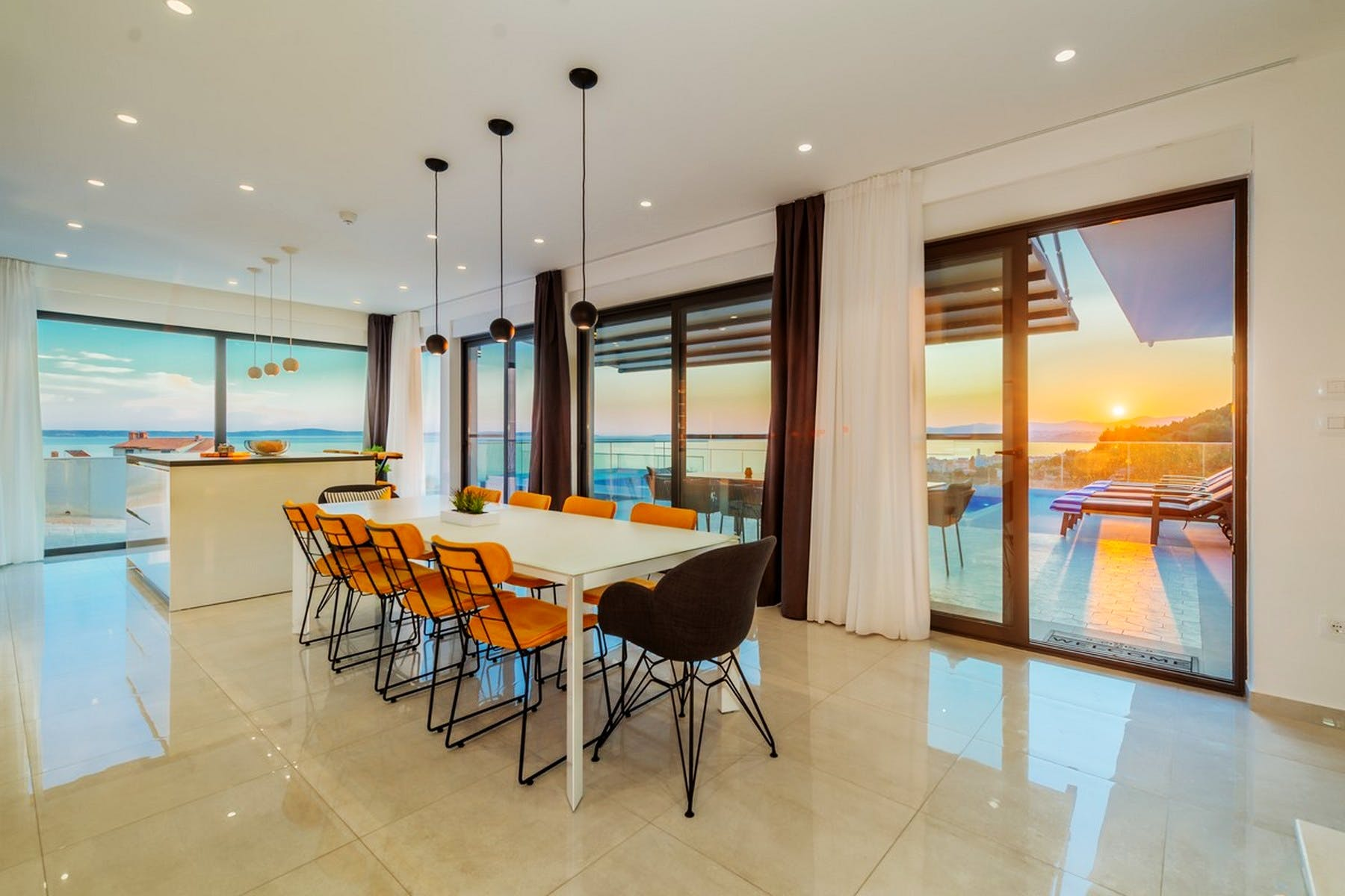 A dining room with a view