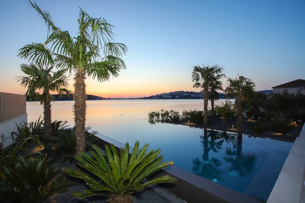 Sunset from the newly built villa in Rogoznica for sale