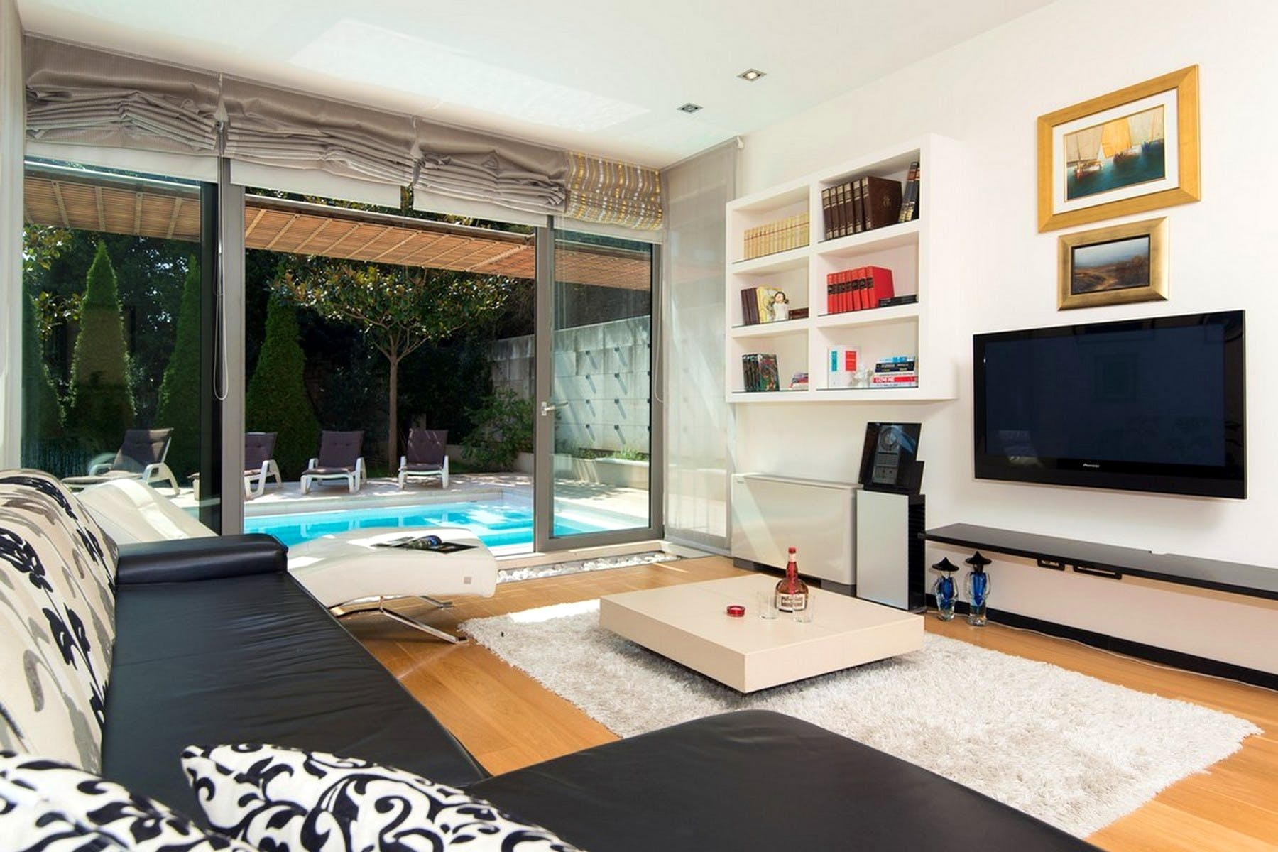View of the pool area from the living room