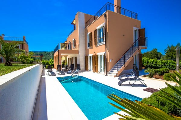 Side view of the villa with pool