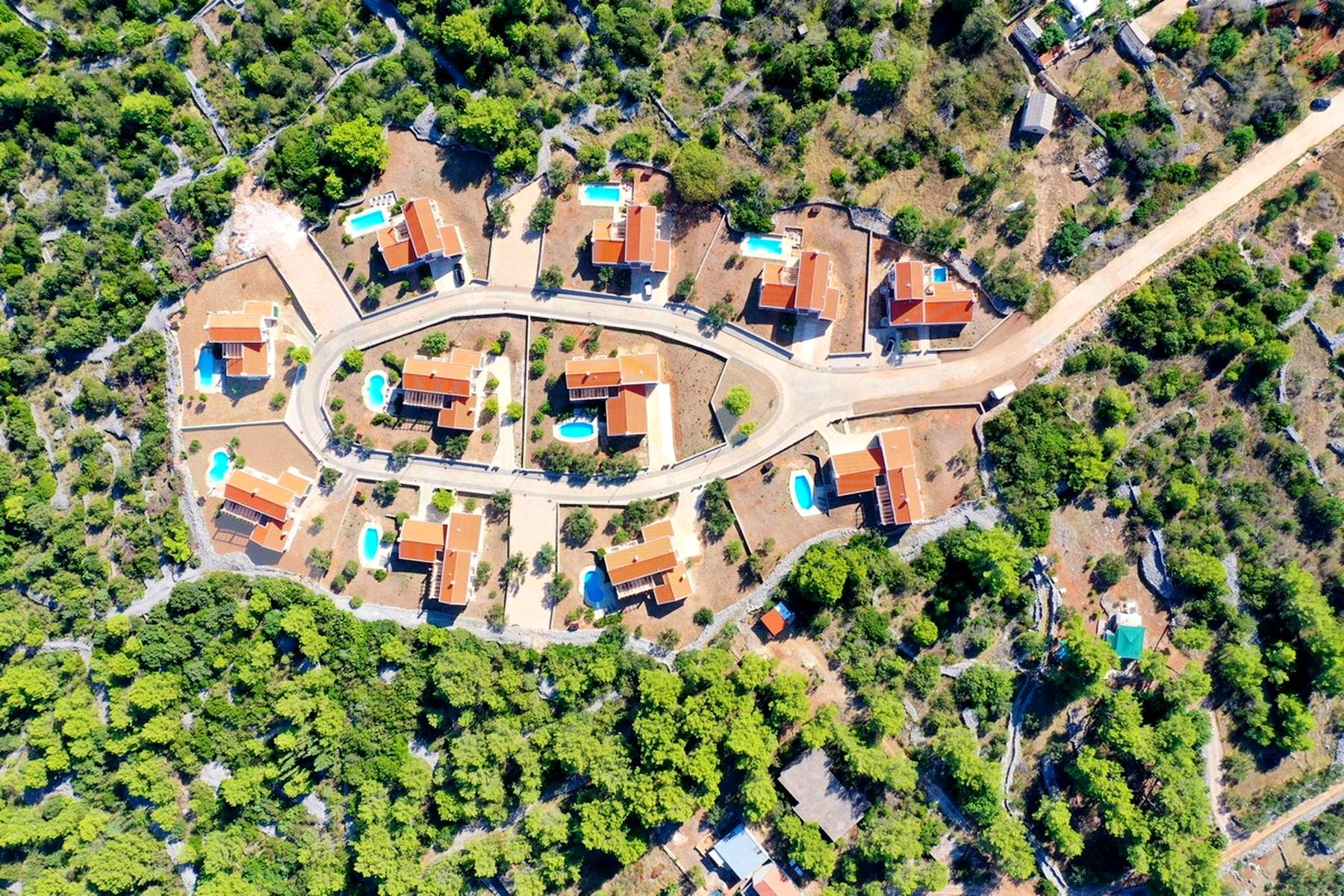 A complex of eleven villas