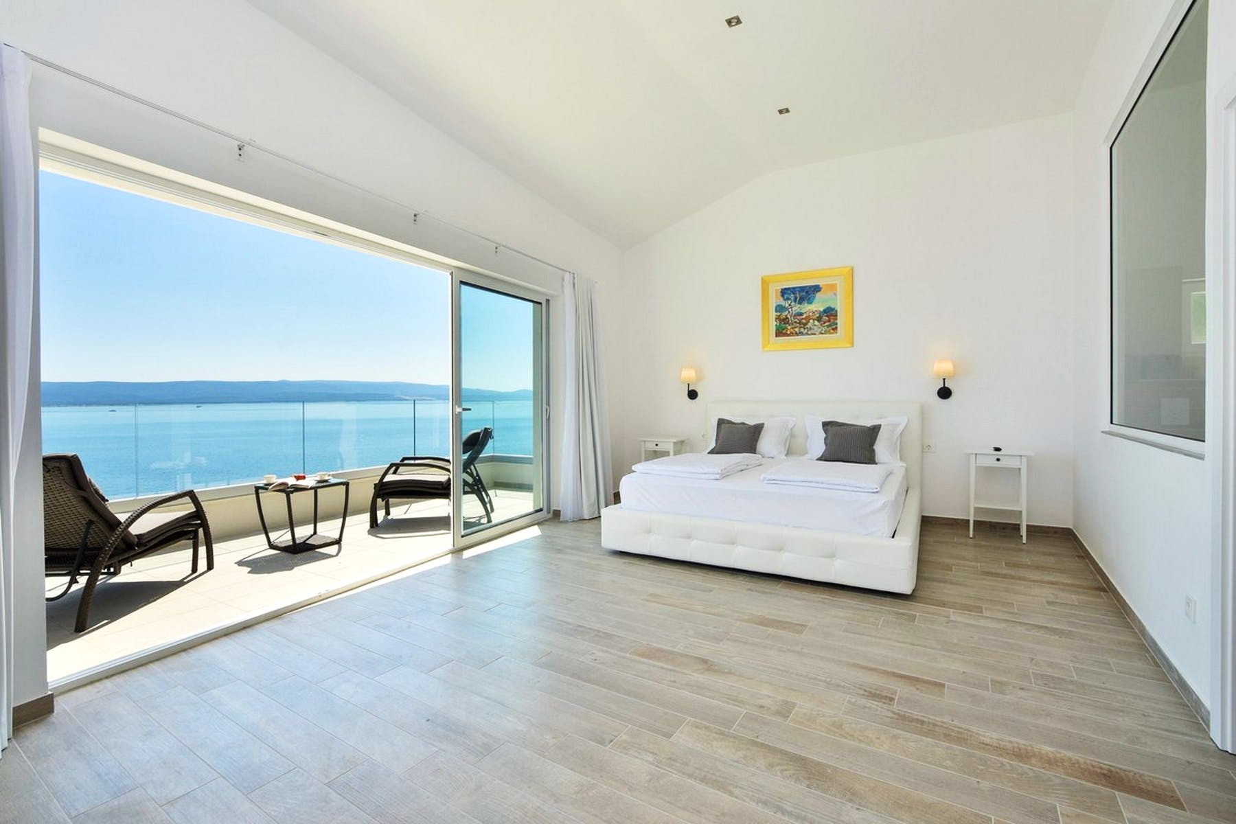 Master bedroom with a terrace
