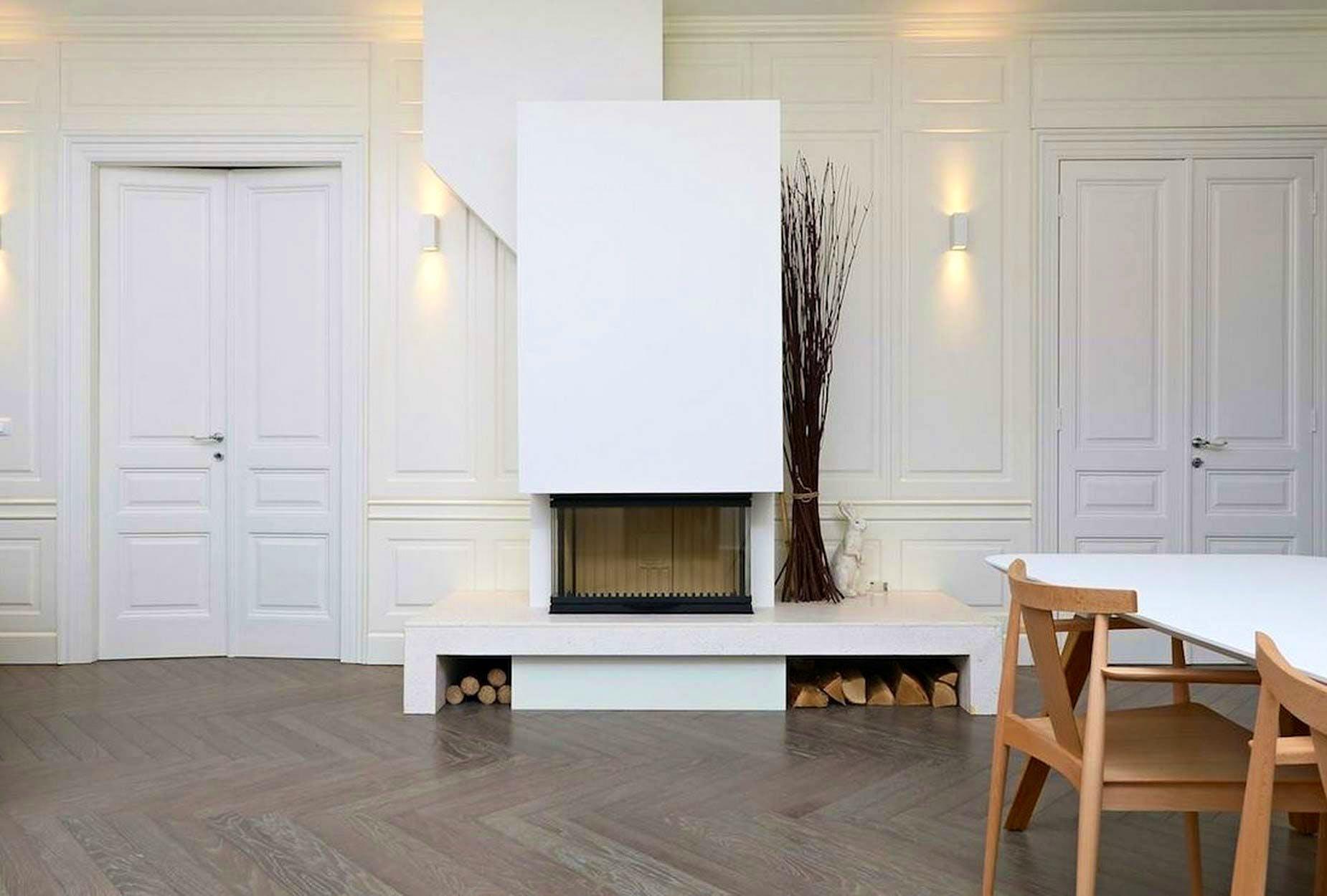 Amazing white fireplace