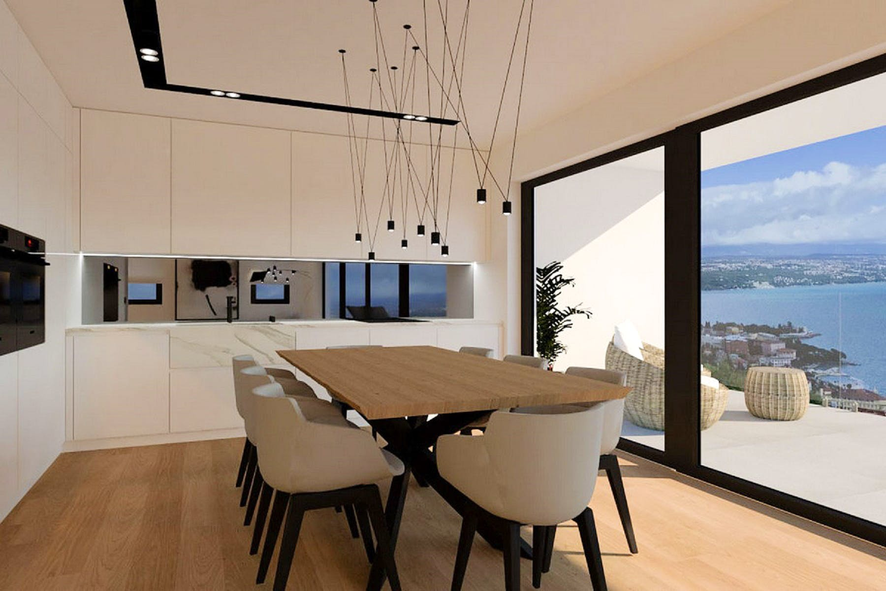 Dining room connected to the kitchen and terrace