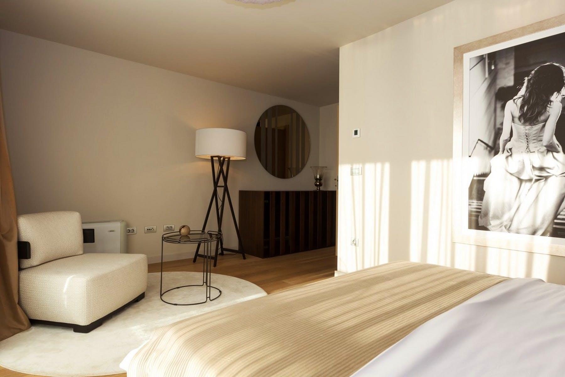 Interior design details in the master bedroom