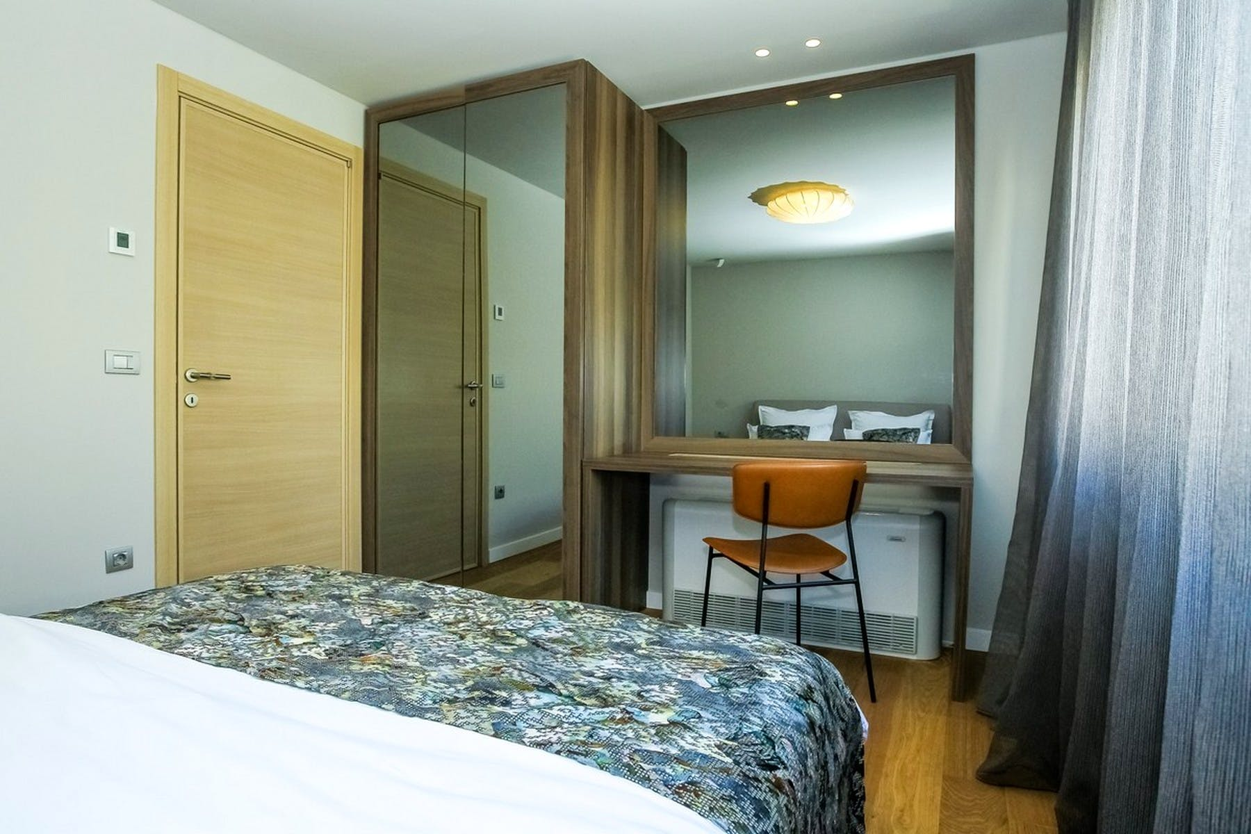 Large mirrors in the bedroom