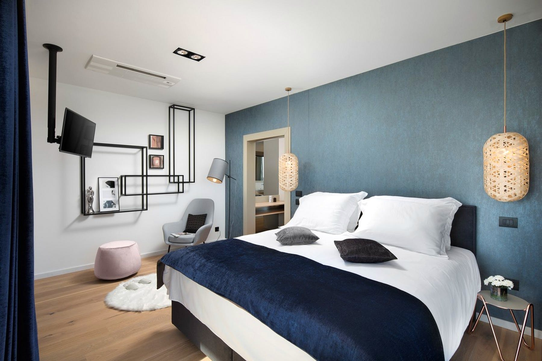Double bedroom with interesting details