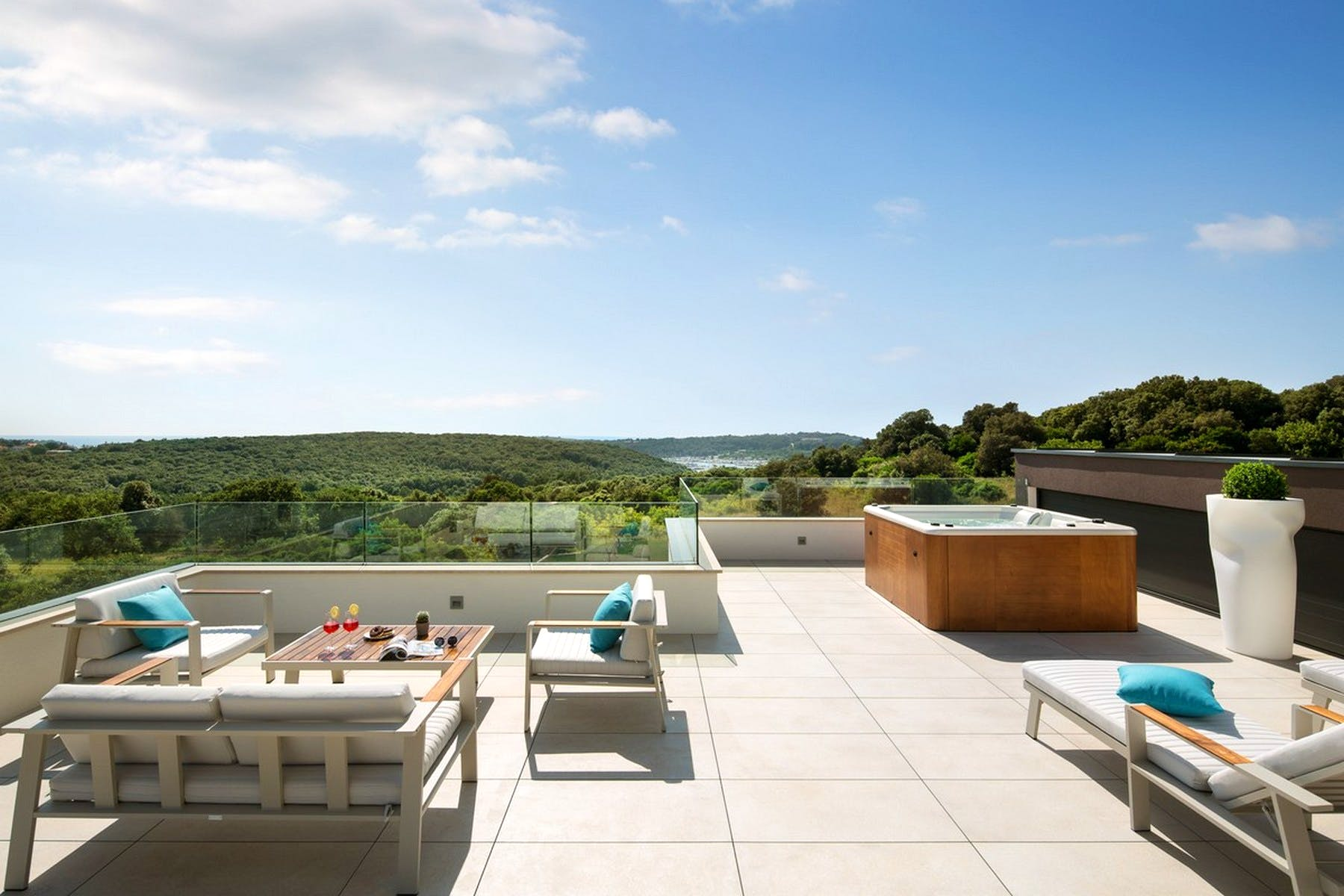 Sunny terrace with jacuzzi