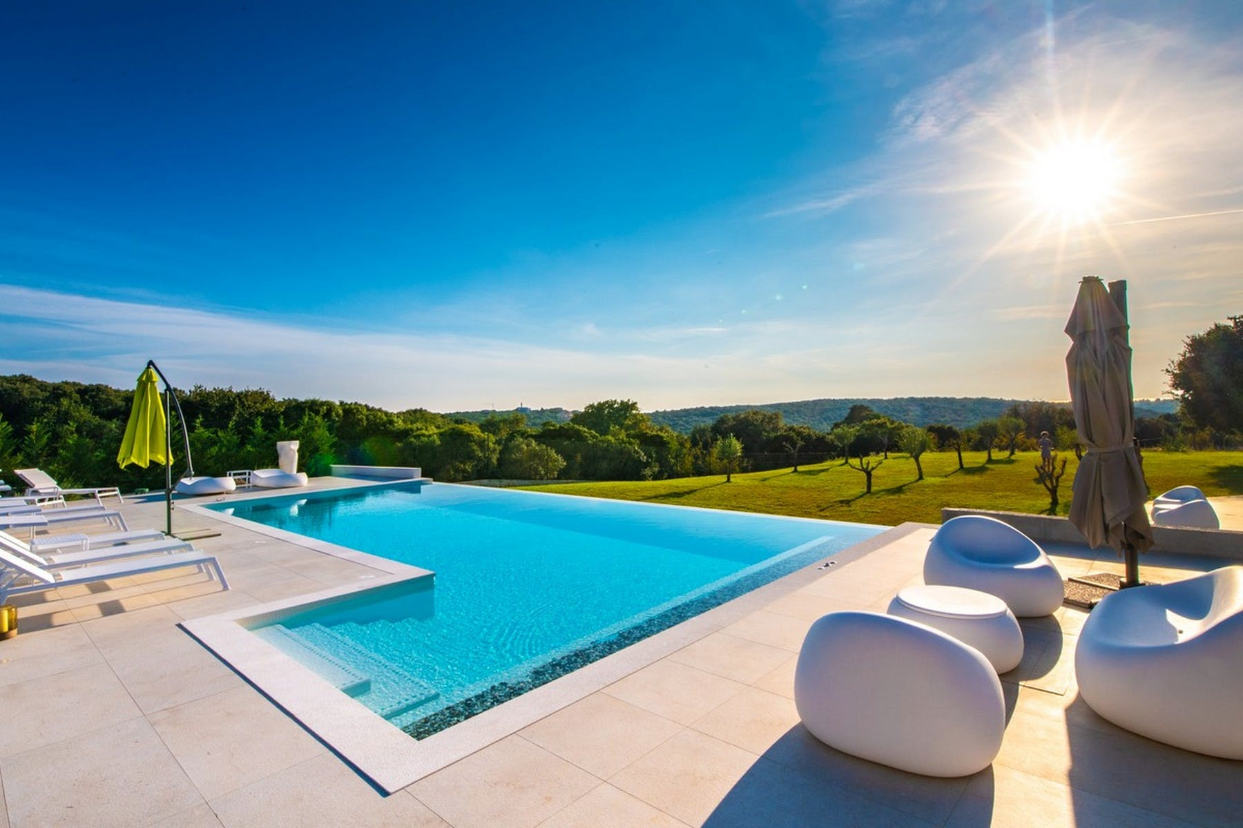 Pool area on a sunny day