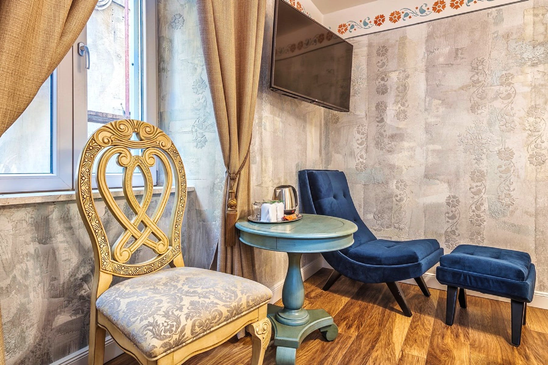 Though antique in design, rooms are fully equipped with modern devices