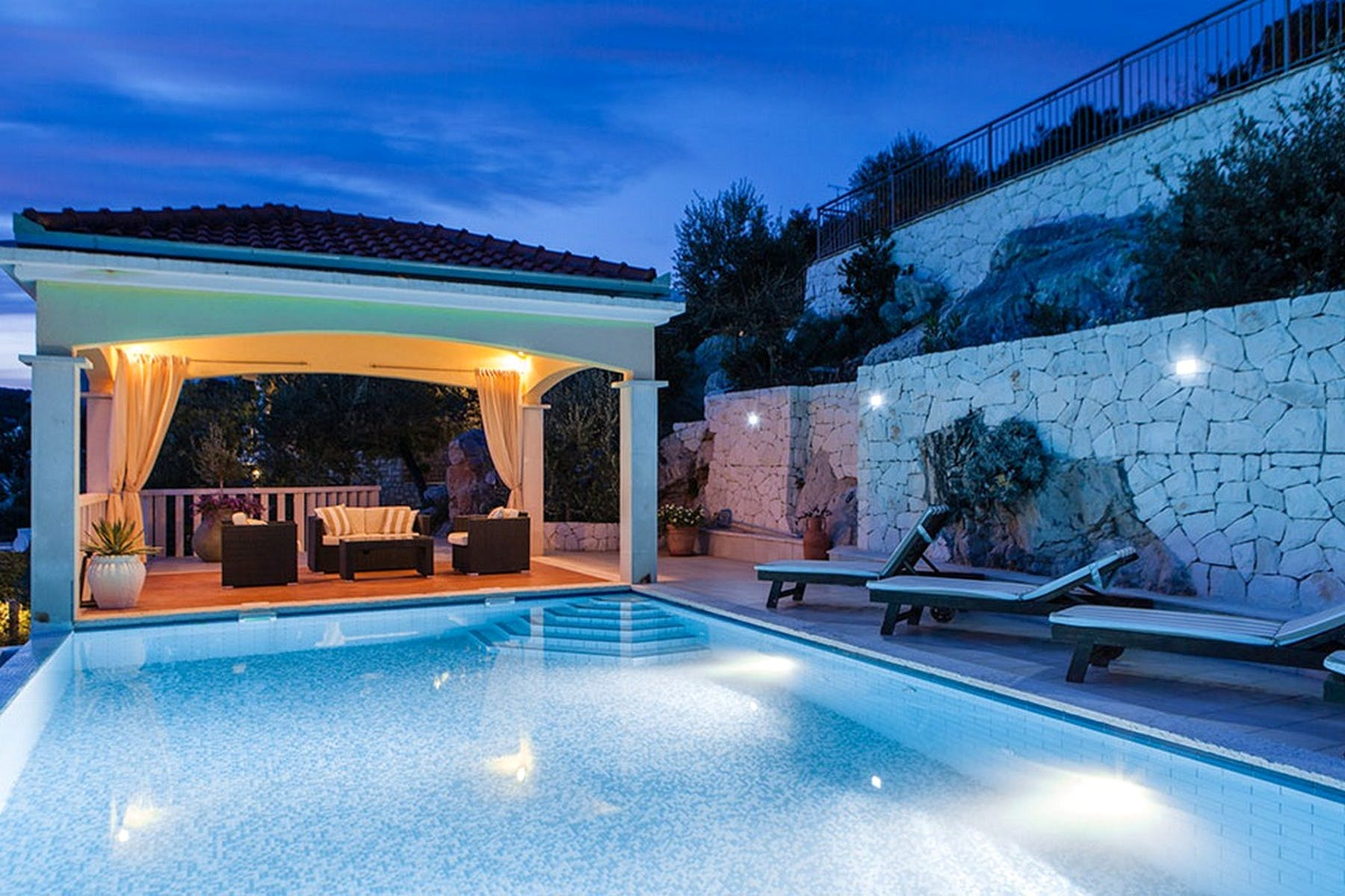 Villa Mistral by night