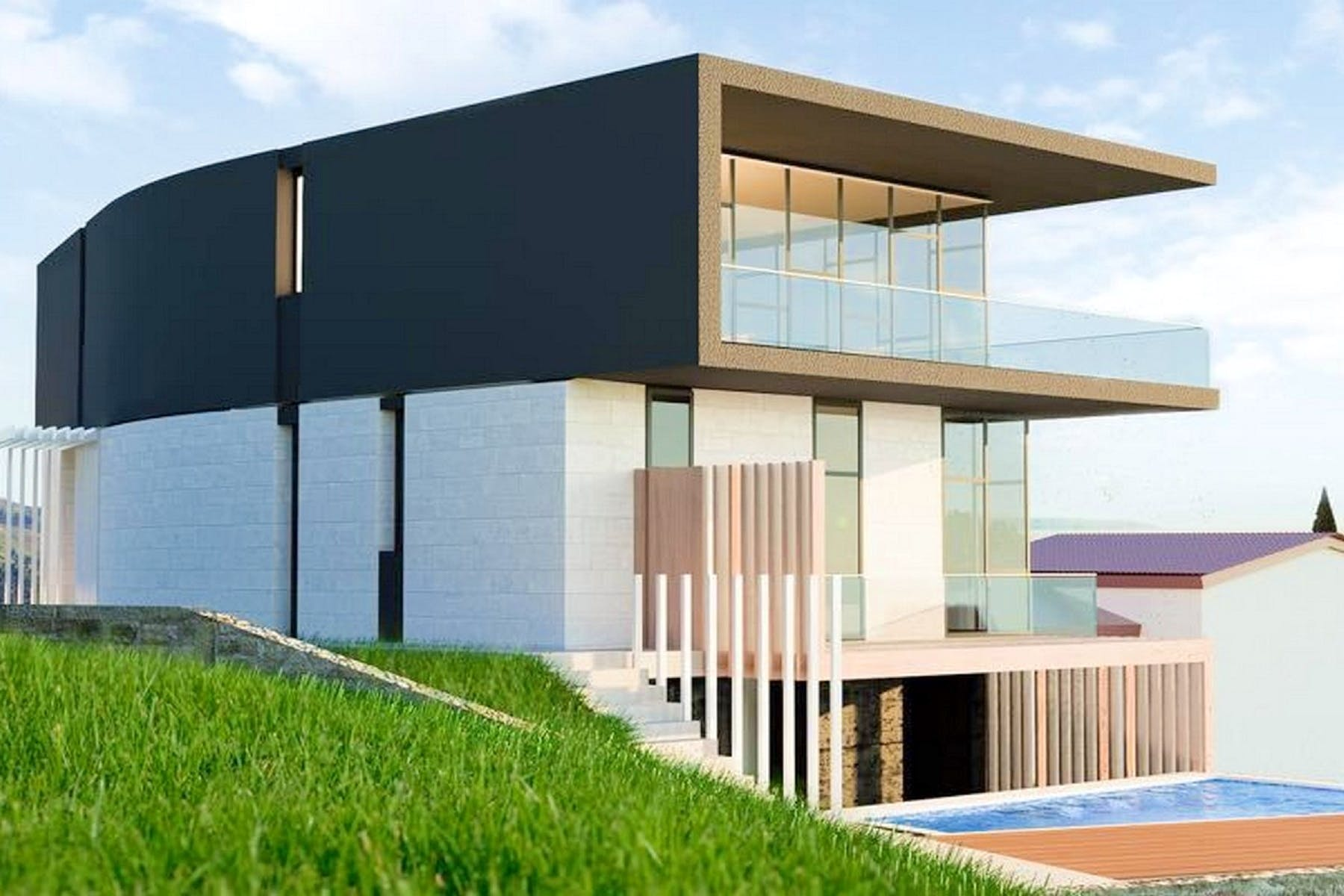 Modern property with a seaview
