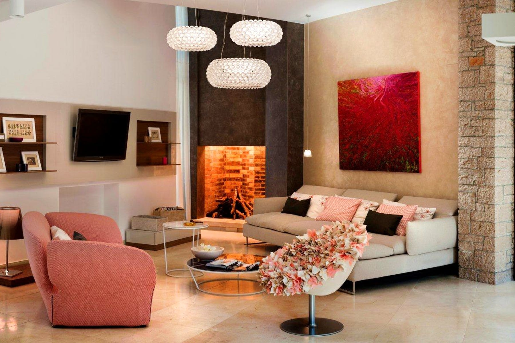 Living area with a fireplace