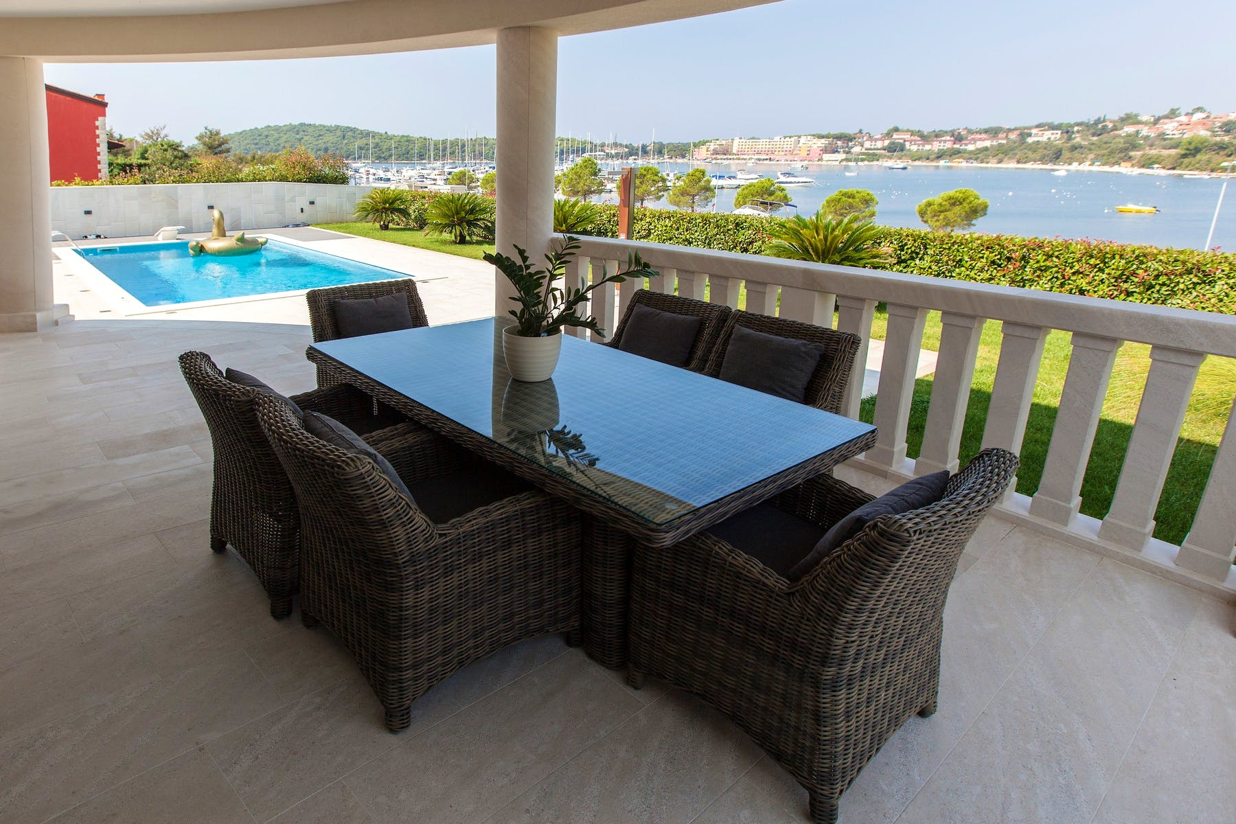 Outside dining area with seaview