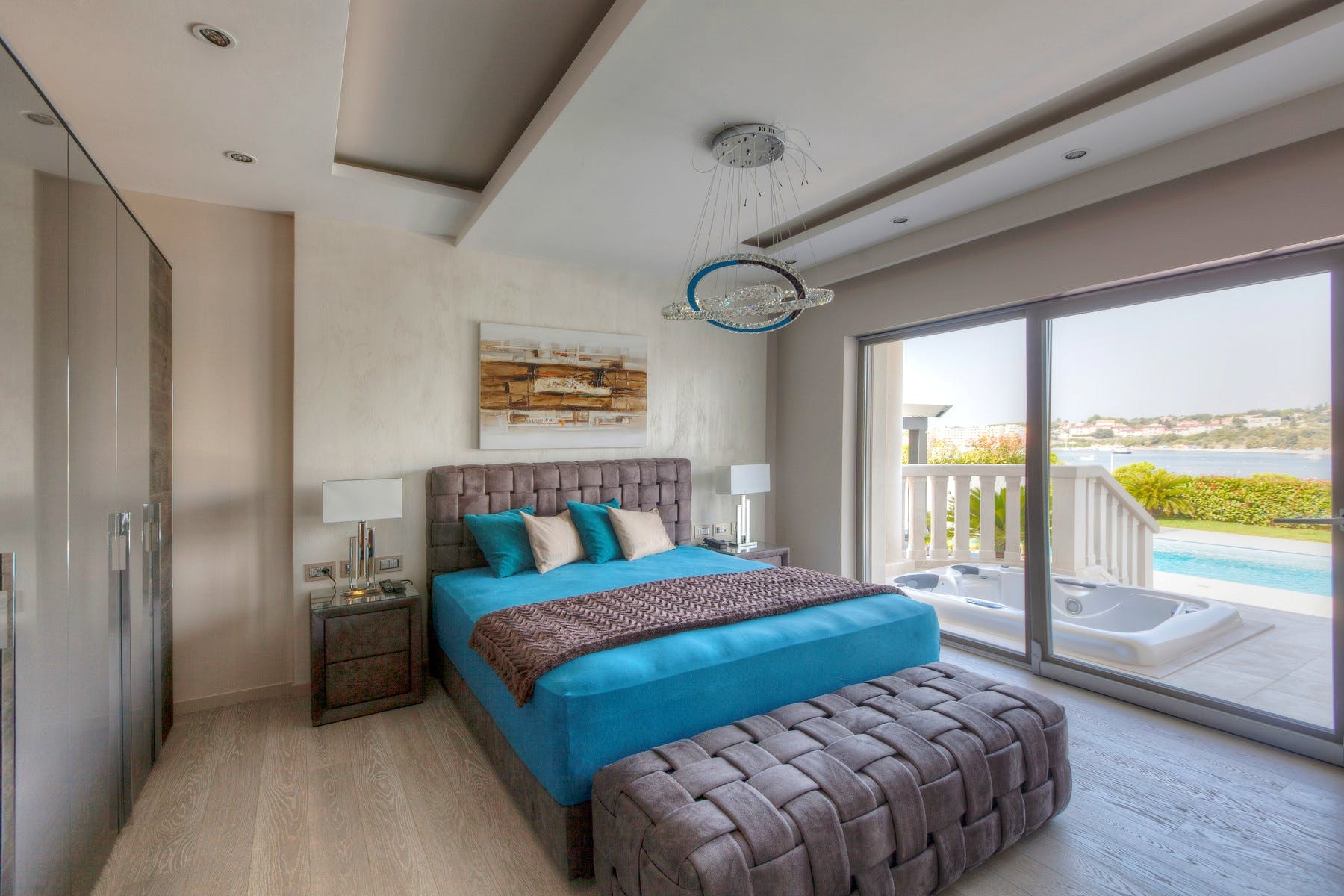 Bedroom with a sea view