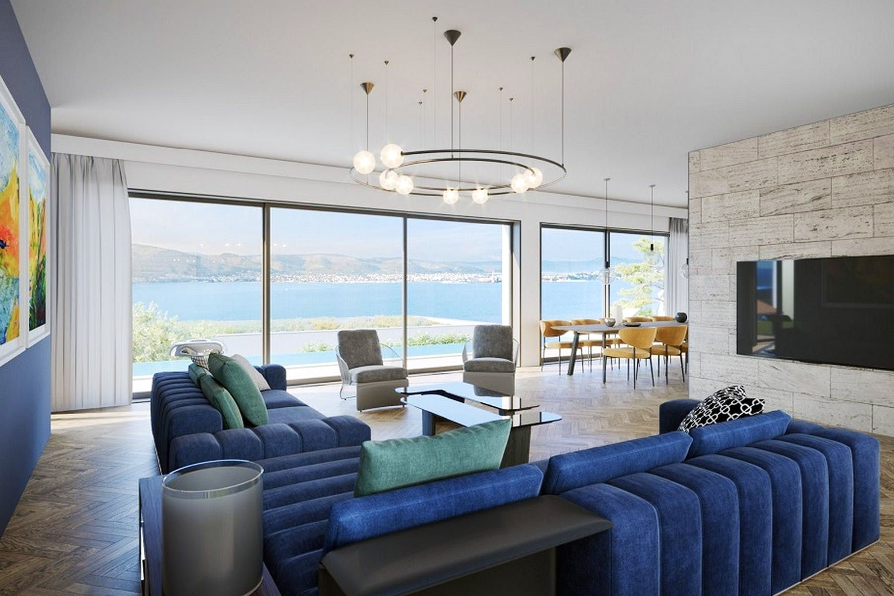 Comfortable living area with a sea view