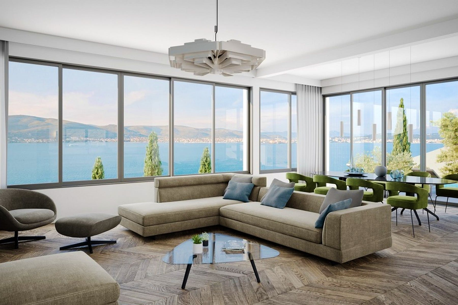 Open concept living area with sea view
