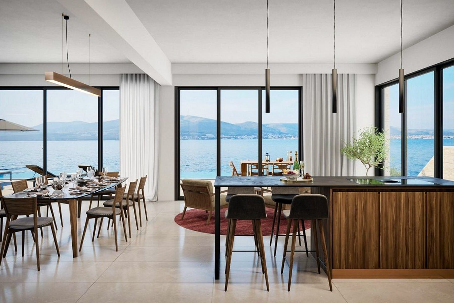 Kitchen and dining area with open sea view