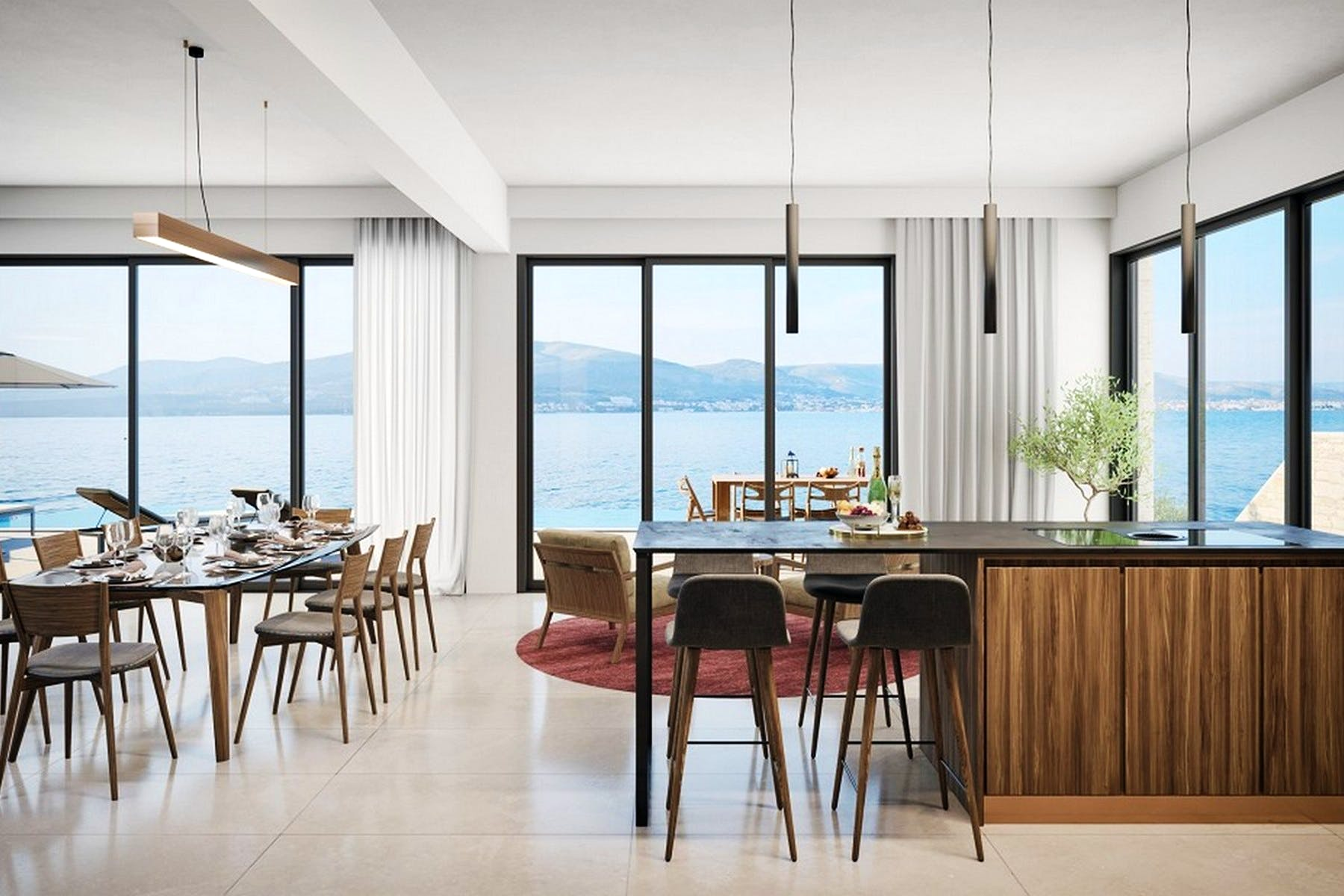 Kuhinja i blagovaonica s otvorenim pogledom na more