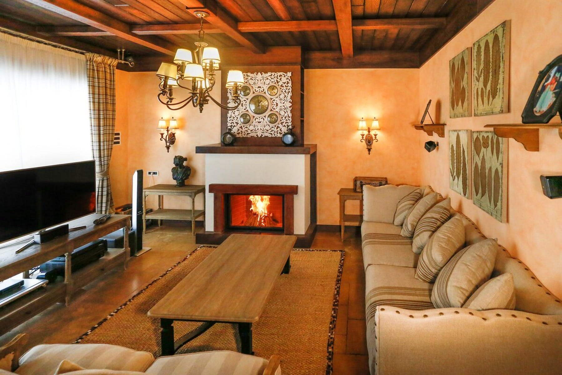 Large living room with fireplace and modern amenities