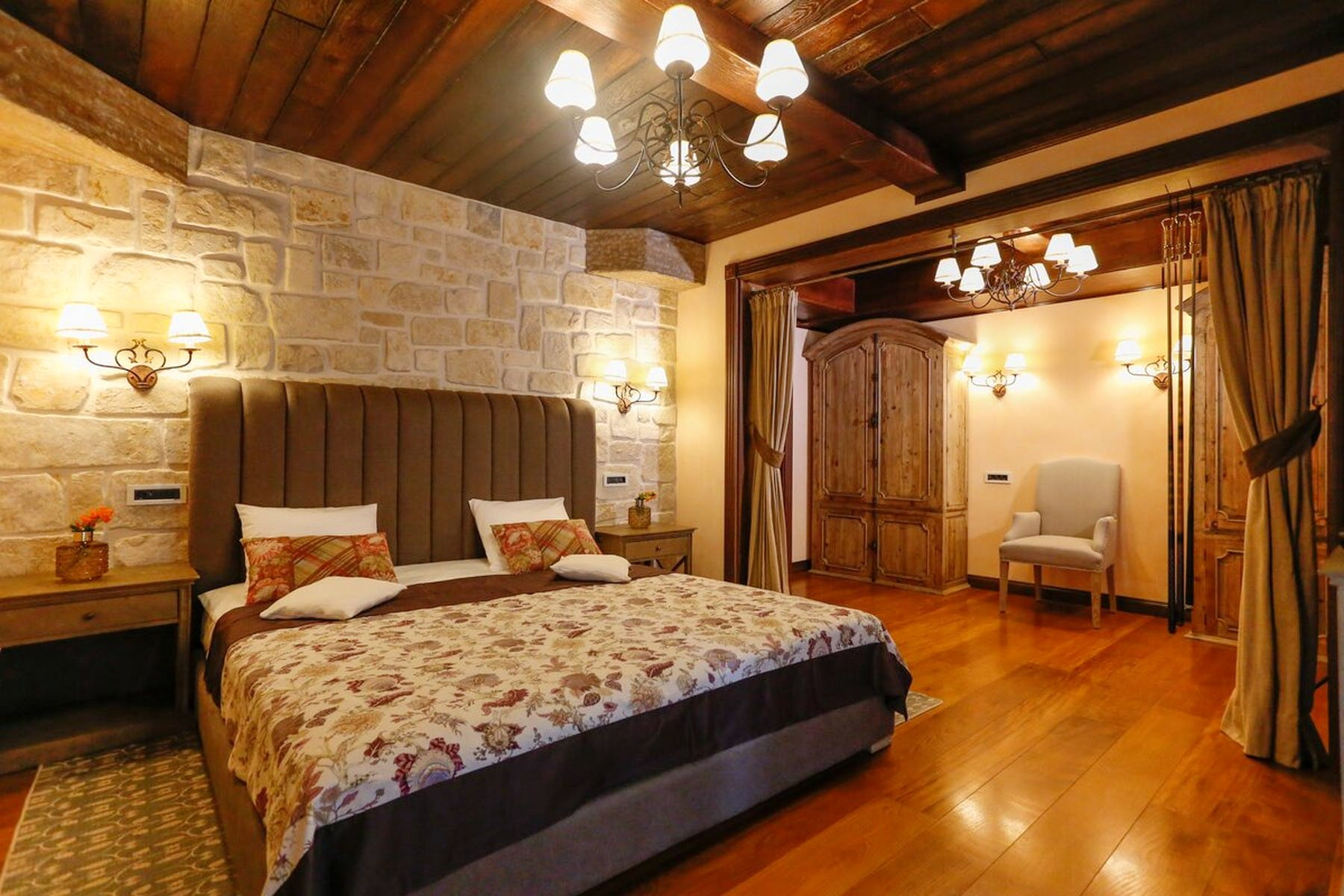 Spacious bedroom in warm colors