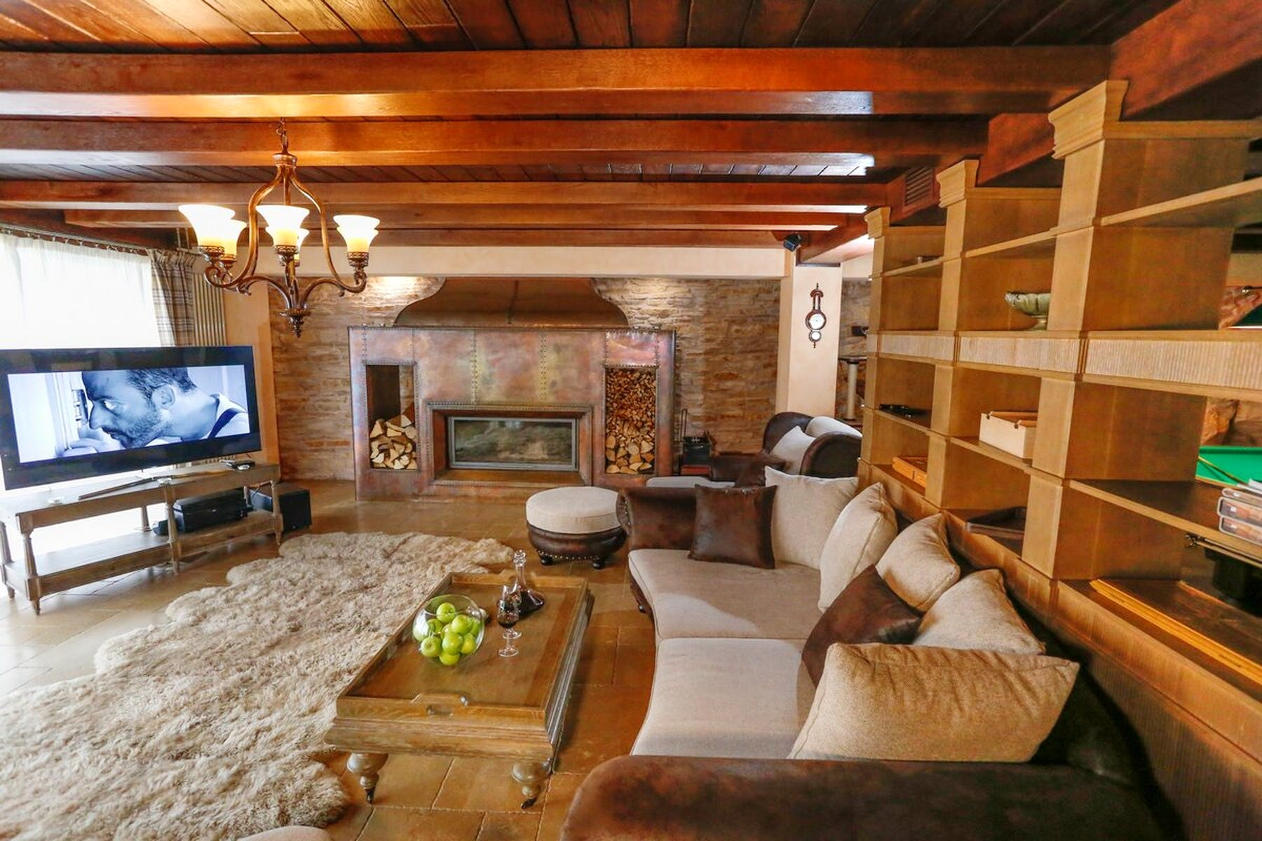 Attractive living room area in warm and neutral colors