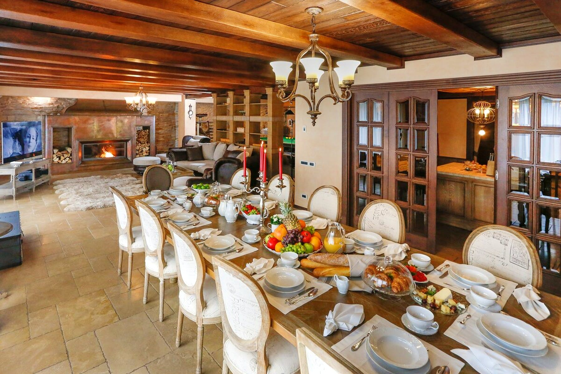 Large dining table in the waterfront villa
