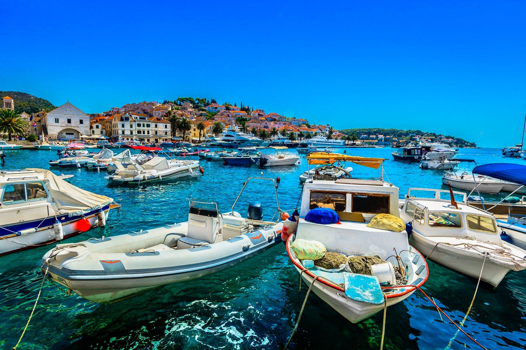 Mesmerizing blue waters of city Hvar