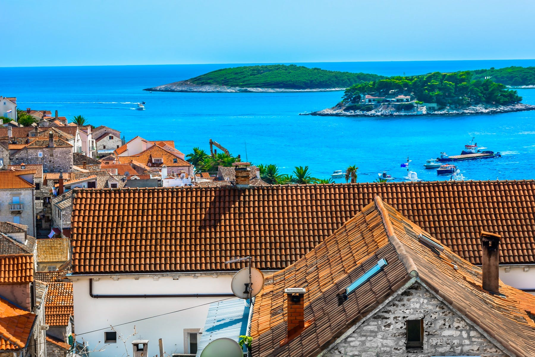 View of the Hvar old town and the sea