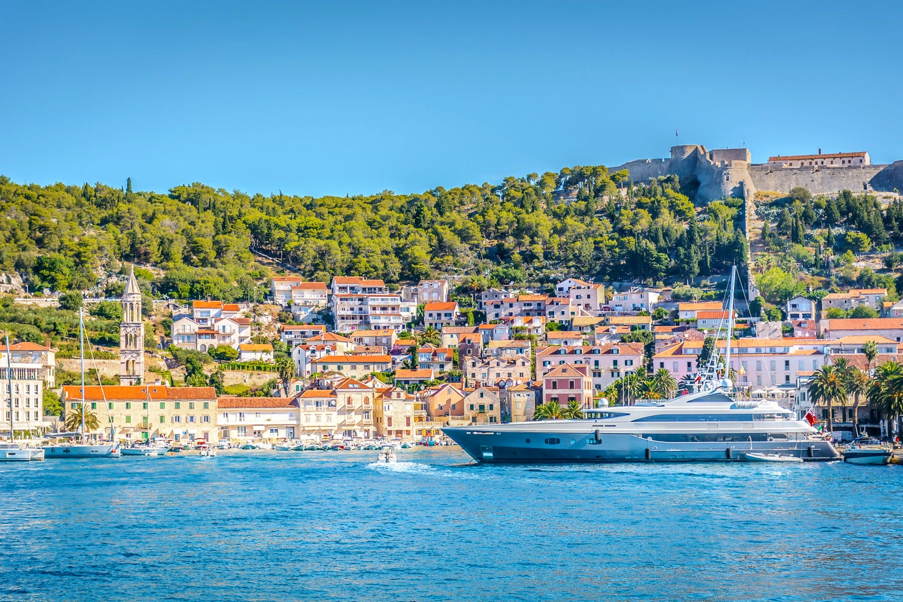 The view of beautiful Hvar city