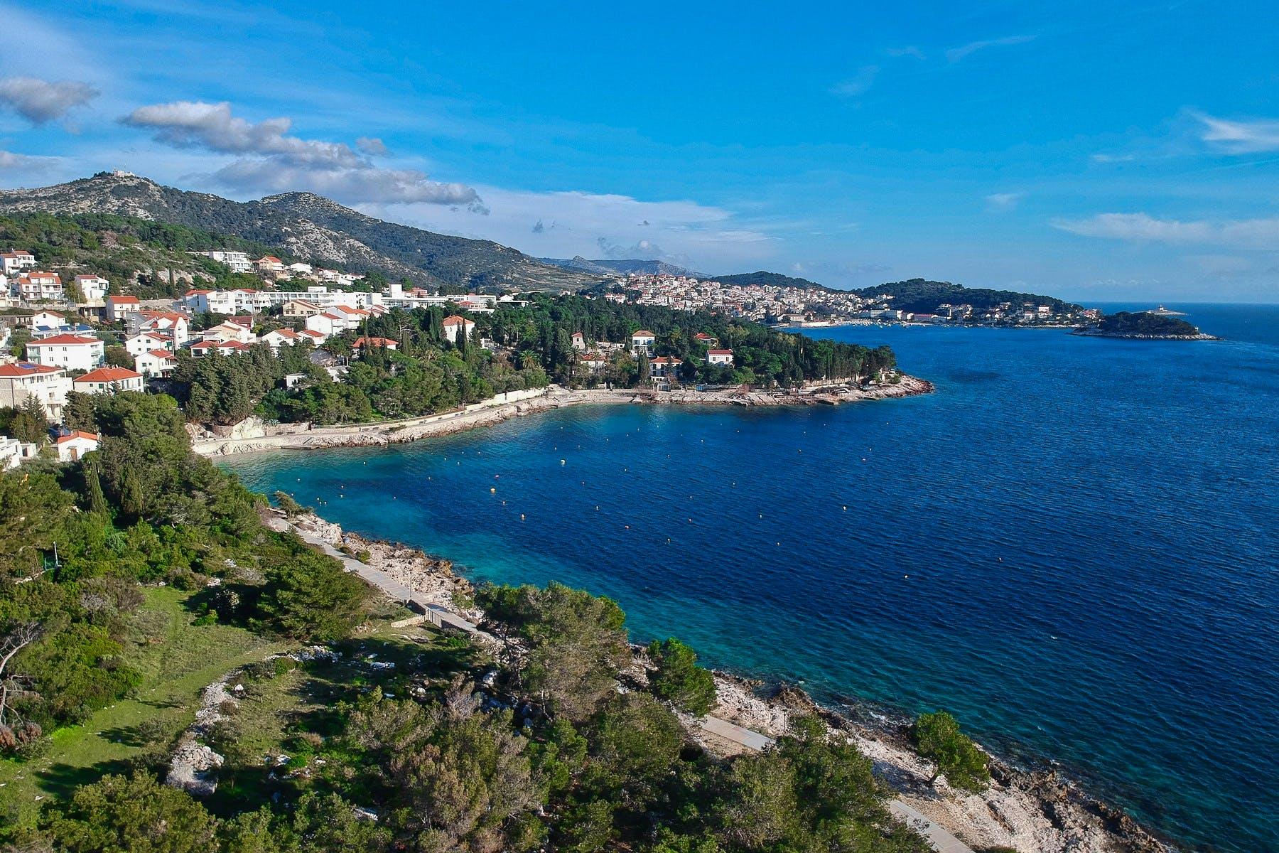 Impressive blue Adriatic of Hvar city