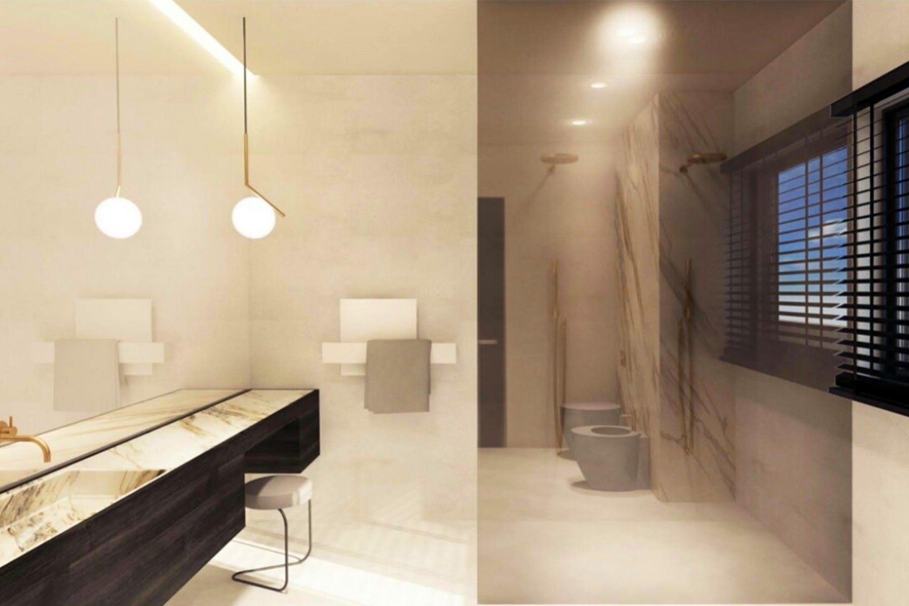 3D interior visualization of modern bathroom