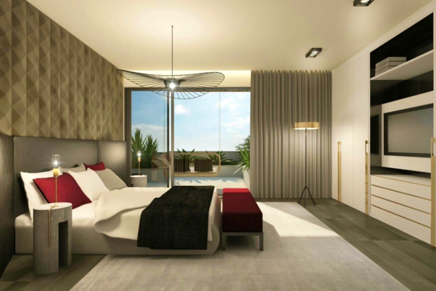 3D interior visualization of spacious bedroom with sea view