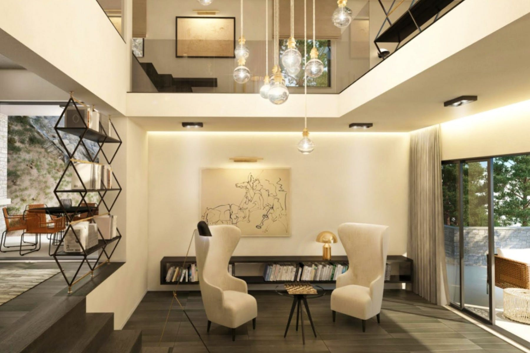 Attractive interior design in the newly constructed villa
