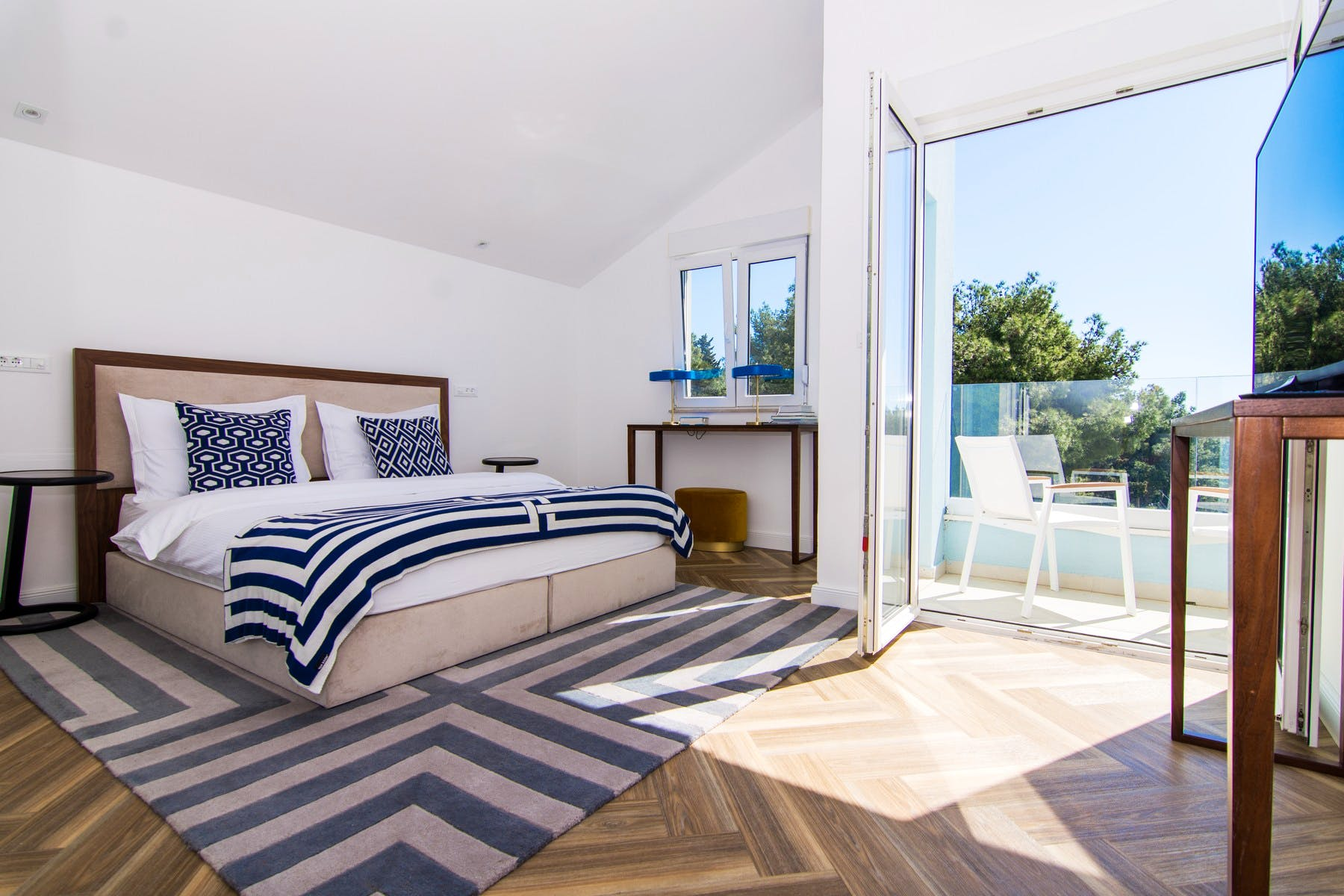 Comfortable master bedroom with sea view