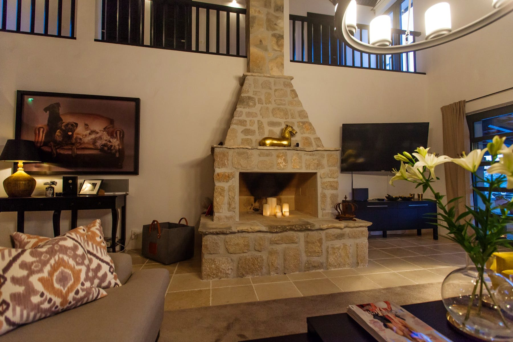 Stone fire place in living room
