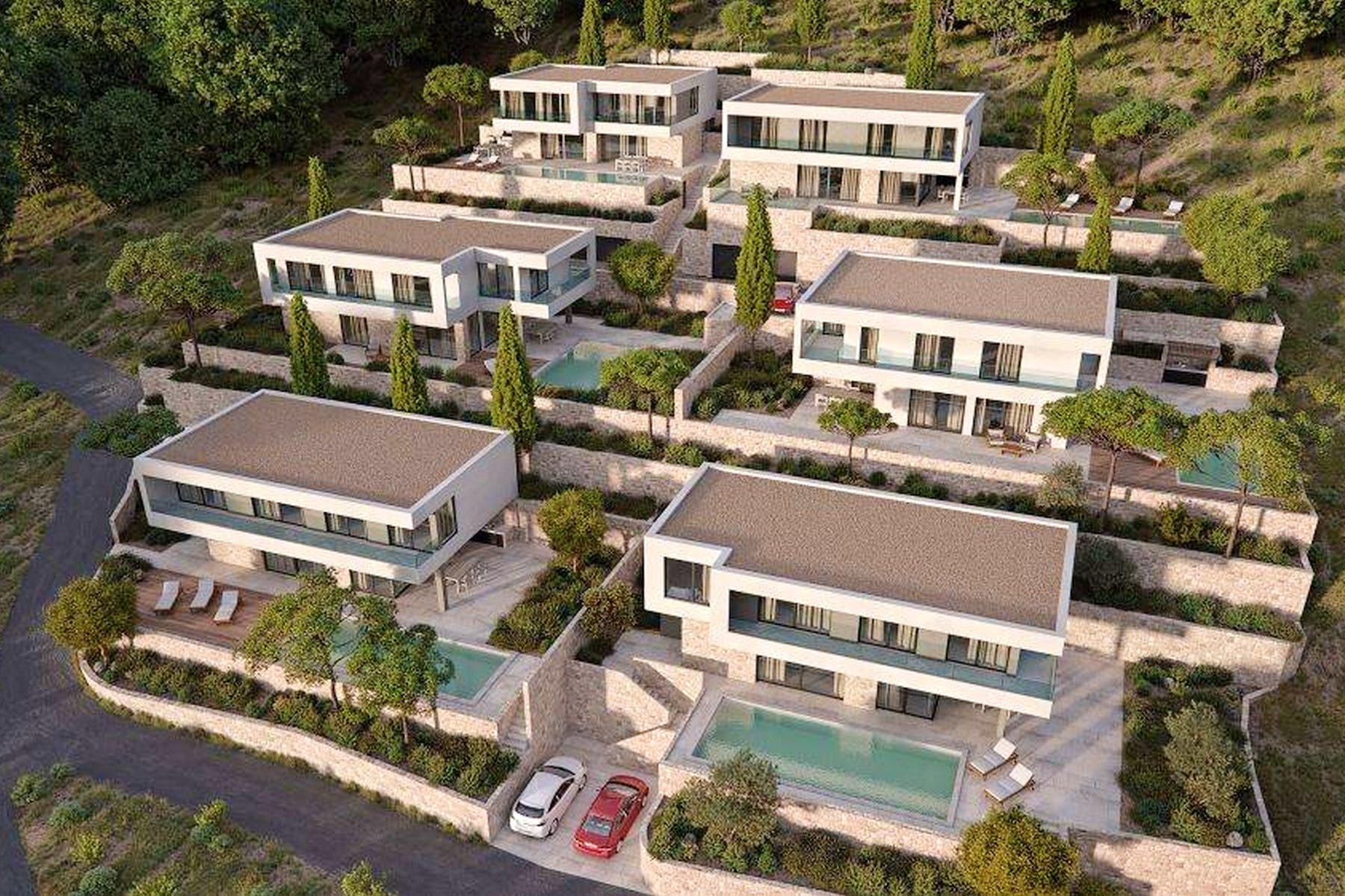 3 D view of contemporary villas