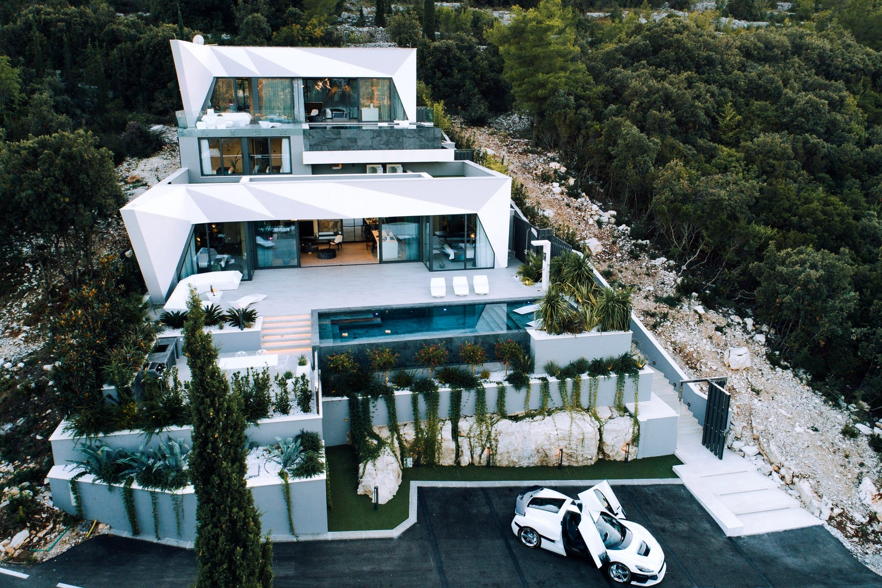 Unique architecture and modern design of a modern villa on the island of Korčula