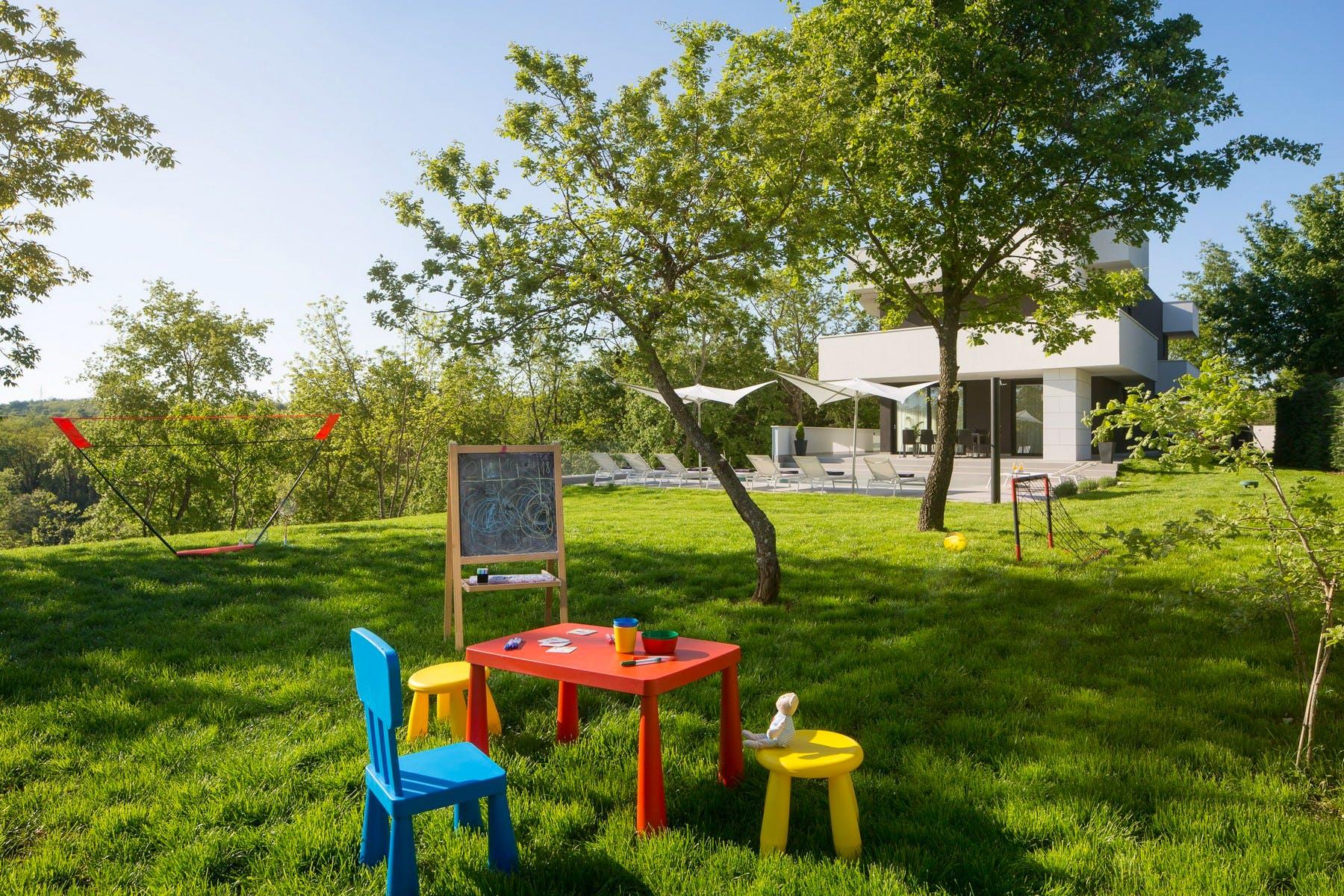Entertainment corner for kids in the garden