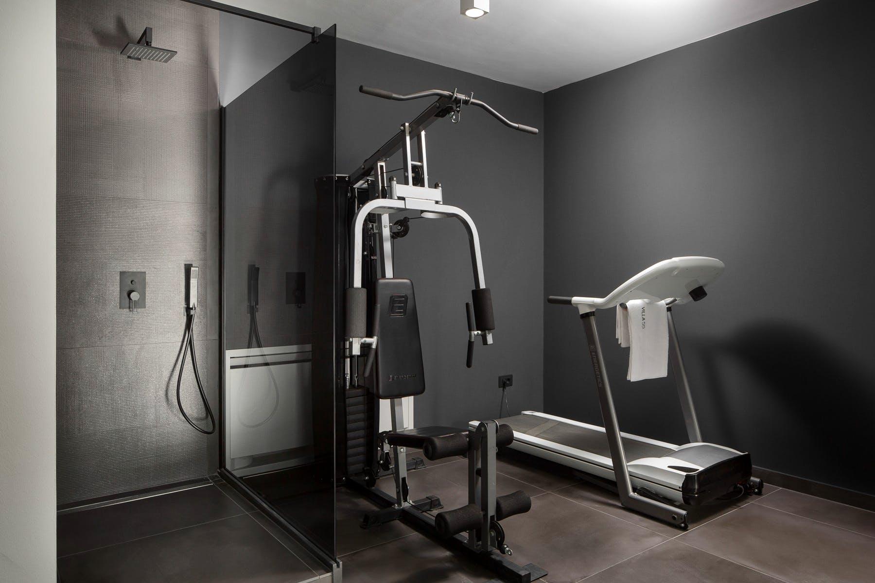 Modern gym area in the lower ground floor