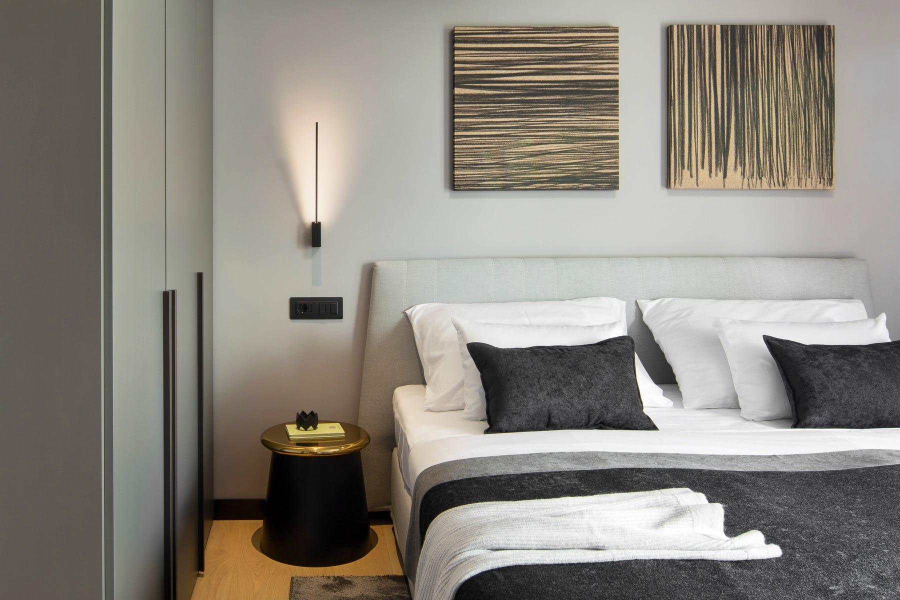 Stylish bedroom with modern amenities