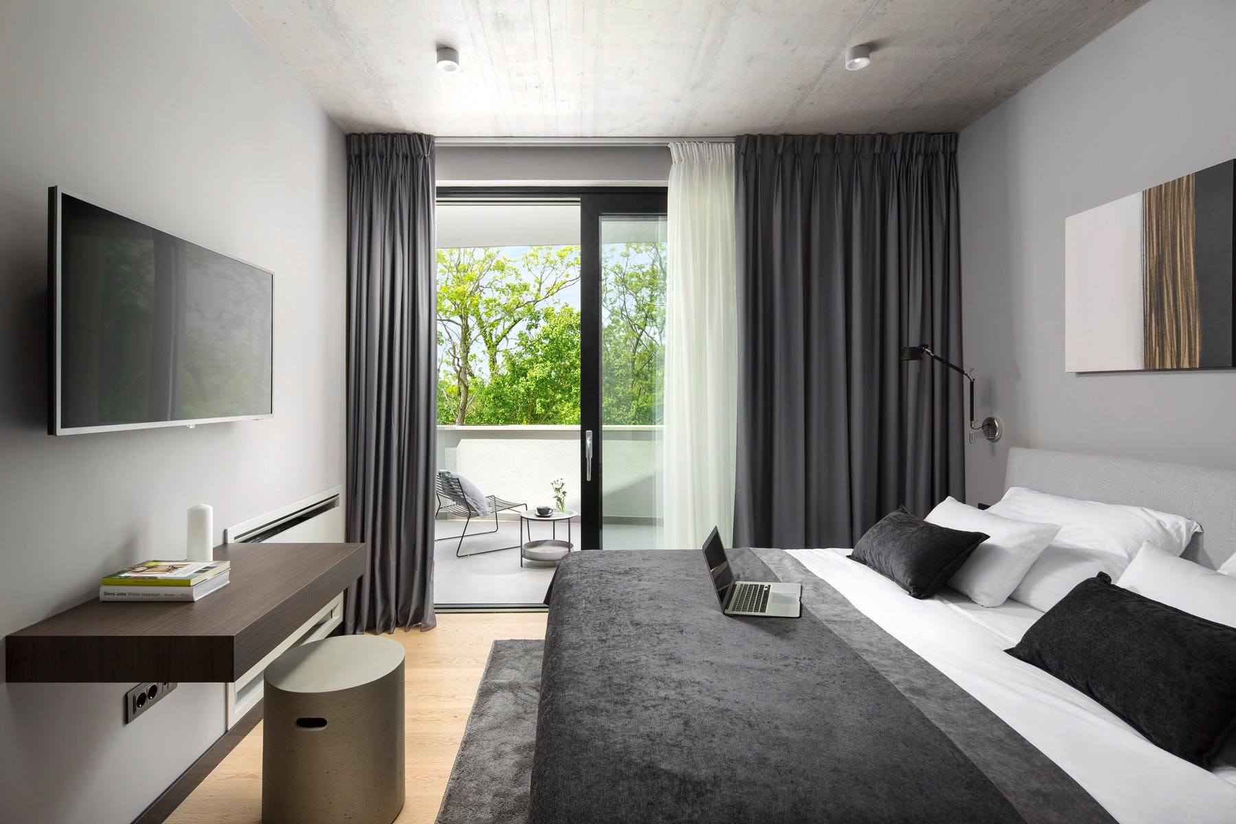 Modern-style bedroom with luxurious features