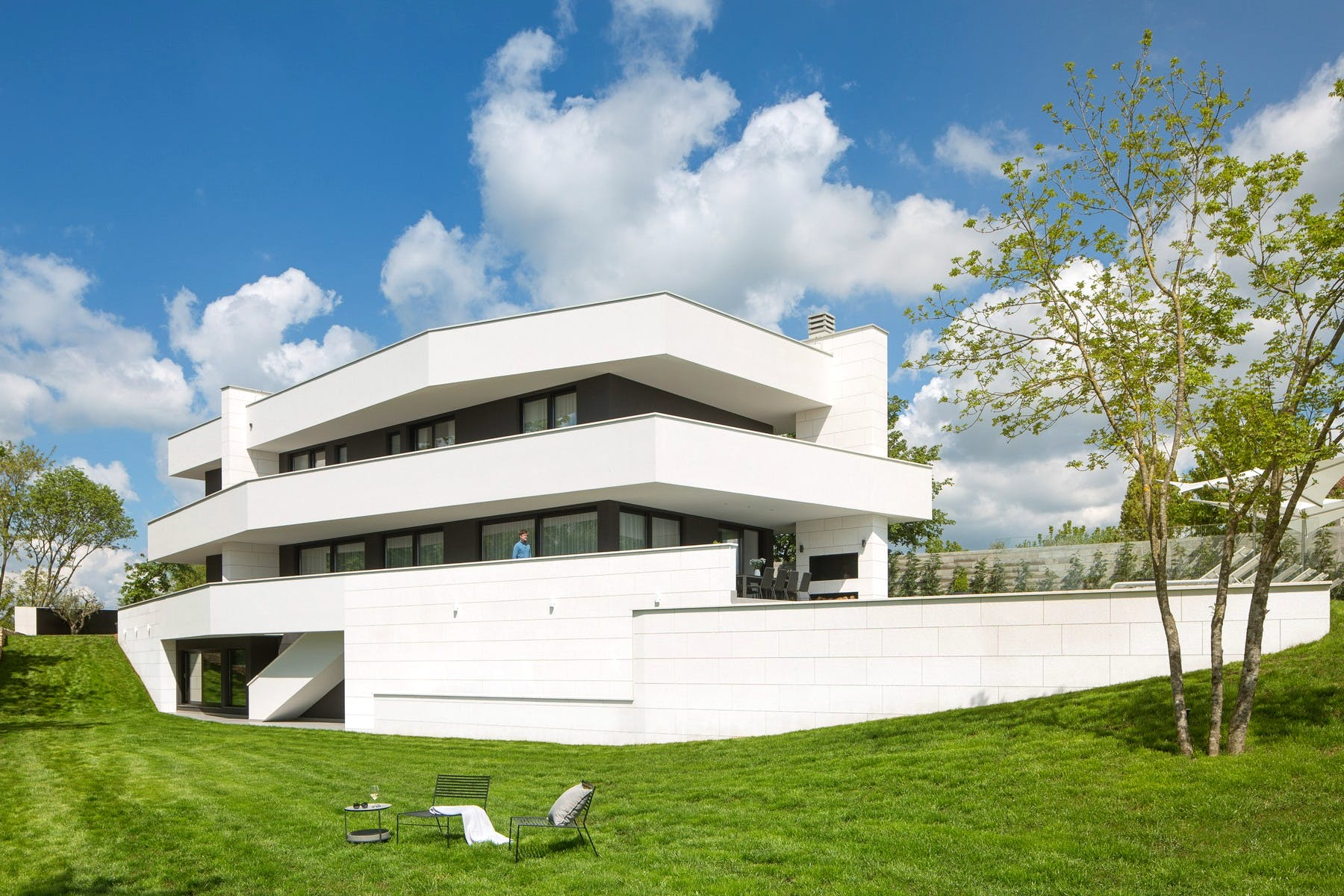 Attractive exterior of the modern villa for rent