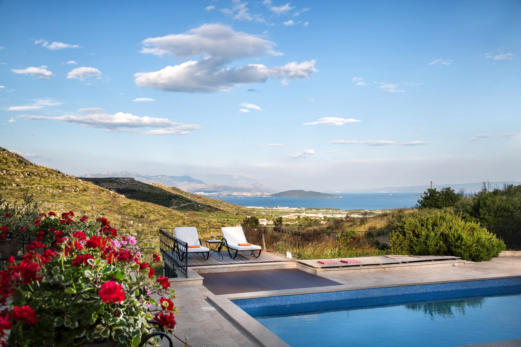 Stunning view from the pool of the luxury estate near Trogir for sale