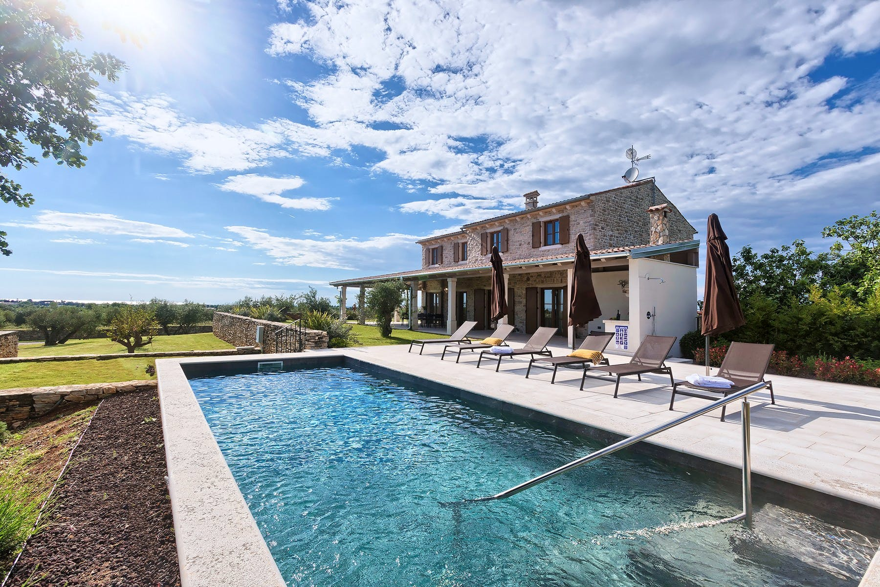 Rustic style villa with pool